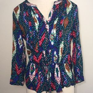 ANTHROPOLOGIE MAEVE COLORFUL TRIBAL CINCH TOP
